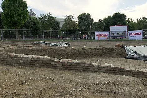 Mauerreste am Heldenplatz