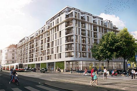 Visualisierung des neuen Wohnhauses statt Finanzamt Nußdorfer Straße