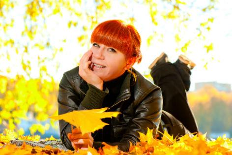 Herbst Frau rotes Haar