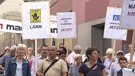 Demonstration für Lärmschutzwand