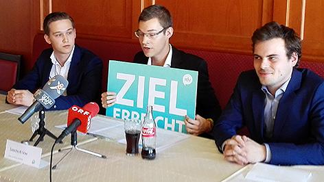 """Konstantin Langhans (Generalsekretär der RFJ Burgenland), Sascha Krikler (Initiator von """"Rettet die Vereinsfeste""""), Simon Gartner (Vorstand der LBL Jugend)"""