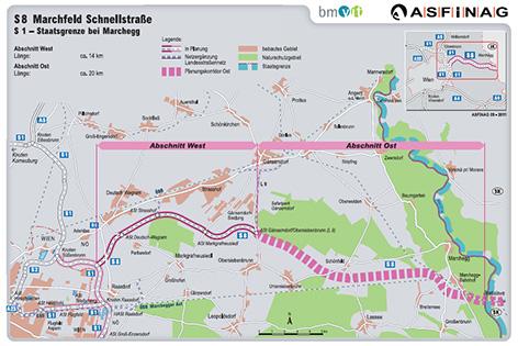 Streckengrafik der Marchfeld Schnellstraße