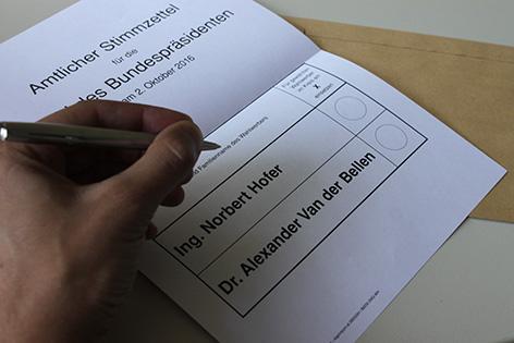 Wahlkarte Bundespräsidentenwahl BP-Wahl Stichwahl Wahlwiederholung Briefwahl Stimmzettel Van der Bellen Hofer