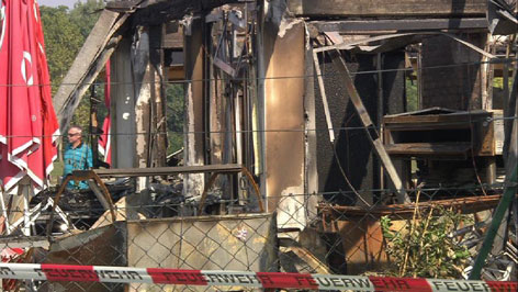 Gasthaus Tauber nach dem Großbrand