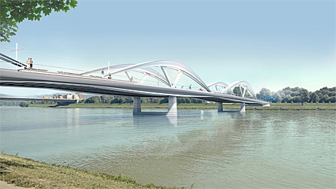 Neue Eisenbahnbrücke in Linz