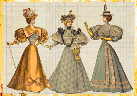 Damen mit historischen Kopfbedeckungen