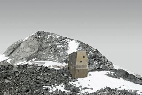 Entwurf einer Hütte (Schwarzensteinhütte) in Form eines Gesteinsbrockens