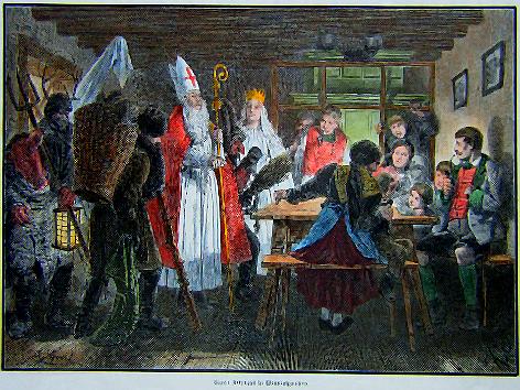 kolorierter Stich aus dem Jahr 1860 v. A. Greil: St. Nikolaus in Windischgarsten