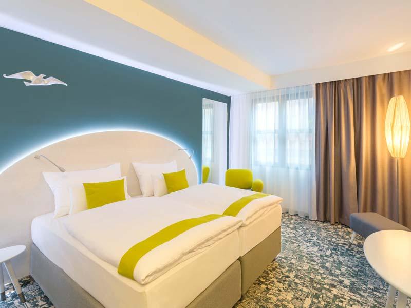 Ein Musterzimmer des neuen Hotels im Donau Zentrum