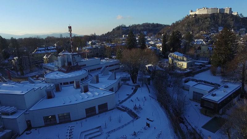 ORF Landesstudio Salzburg und Fernsehgarten im Winter