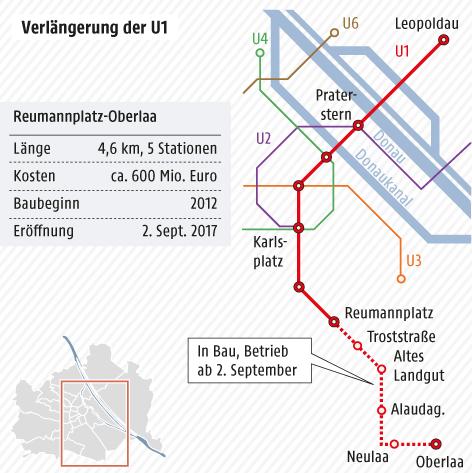 Karte vom Wiener U-Bahn-Netz