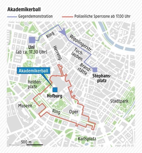 Grafik zeigt die polizeiliche Sperrzone und die Route der Gegendemonstrationen während des Akademikerballs