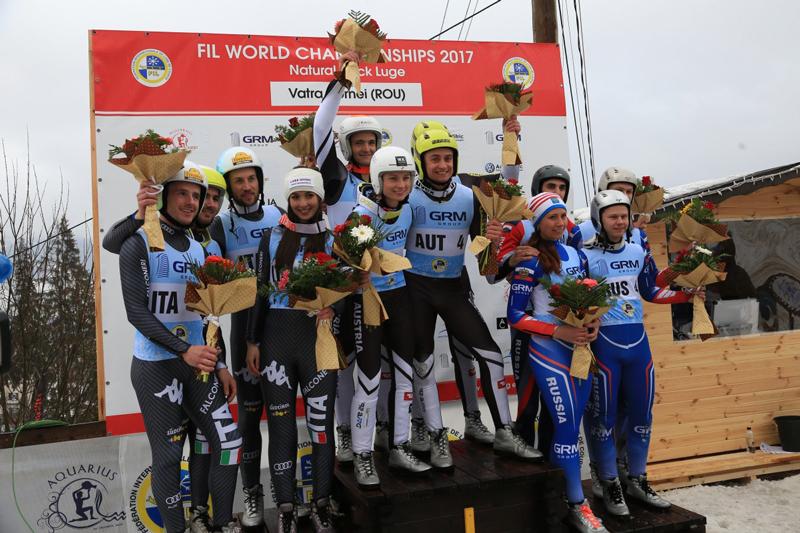 Podest im Teambewerb der Weltmeisterschaften der Naturbahnrodler
