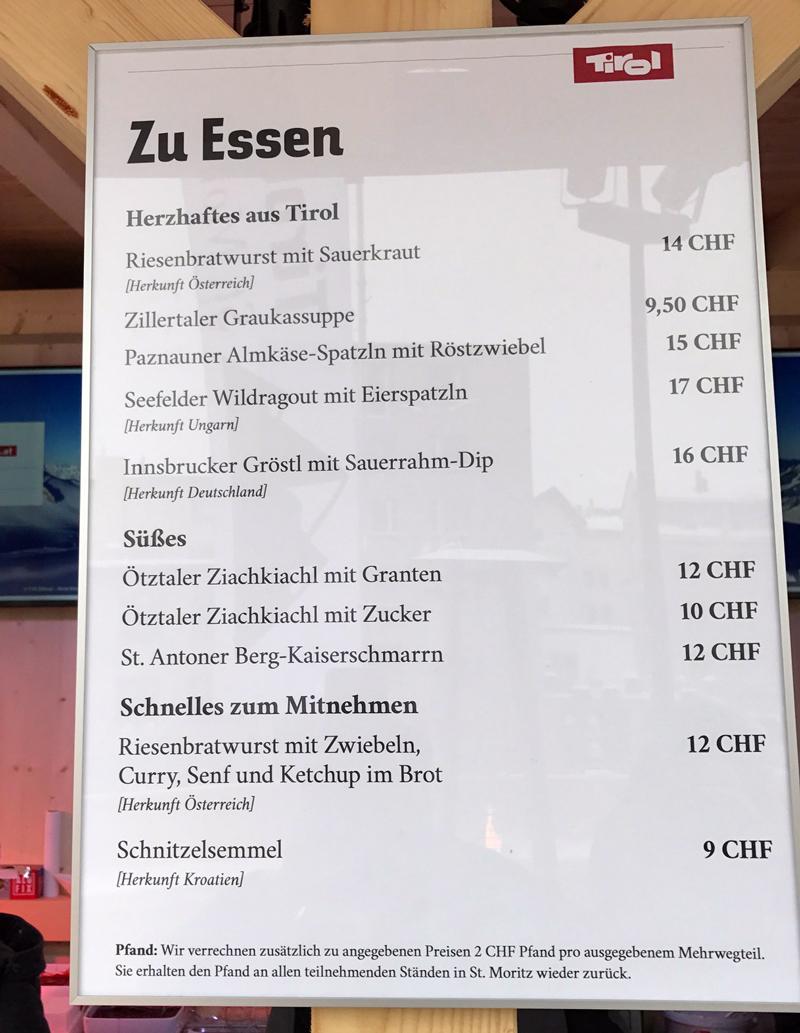 Speisekarte im TirolBerg