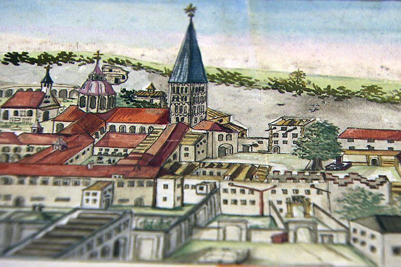 Bild der Erzabtei (des Stifts) St. Peter in der Stadt Salzburg aus dem frühen 17. Jahrhundert