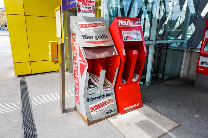 Zeitungsentnahmeboxen in Wien
