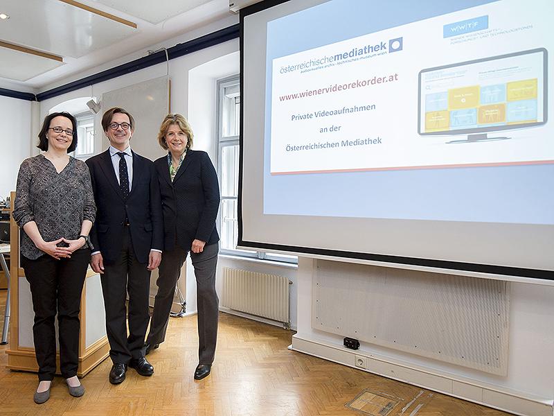 Gabriele Fröschl, Leiterin Österreichische Mediathek, Michael Stampfer, GF Wiener Wissenschafts- Forschungs- und Technologiefonds und Gabriele Luna-Kratky, Direktorin Technisches Museum.