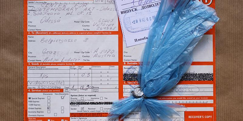 Frachtpapiere für eine Videokassette aus Odessa