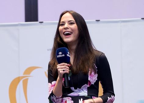 """Miss Earth Air 2013, Katia Wagner aus Österreich, am Montag, 23. November 2015, im Rahmen einer PK anl. der Wahl zu """"Miss Earth 2015"""""""