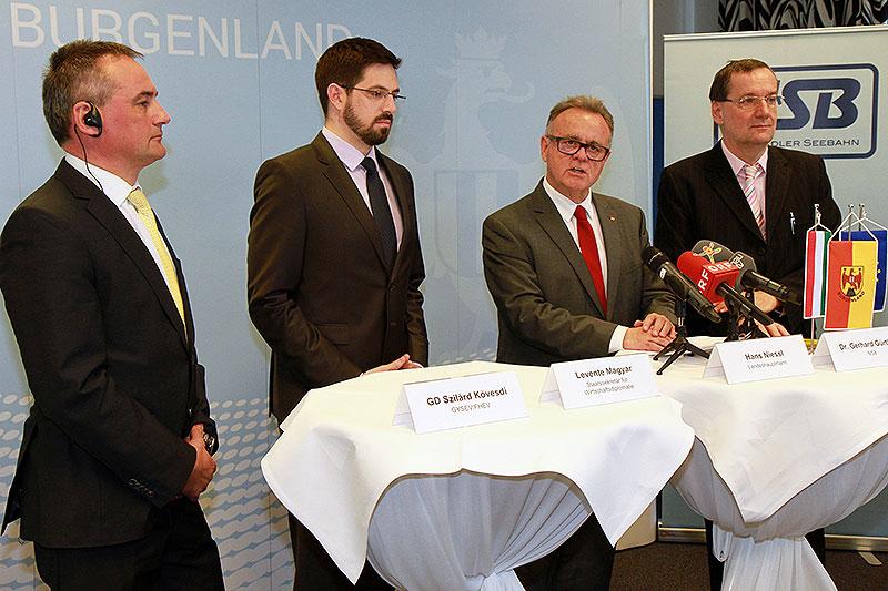 Landeshauptmann Hans Niessl stellte gemeinsam mit Staatssekretär für Wirtschaftsdiplomatie Levente Magyar, Dr. Gerhard Gürtlich, GF Neusiedler Seebahn, und Szilárd Kövesdi, GD GYSEV/FHEV