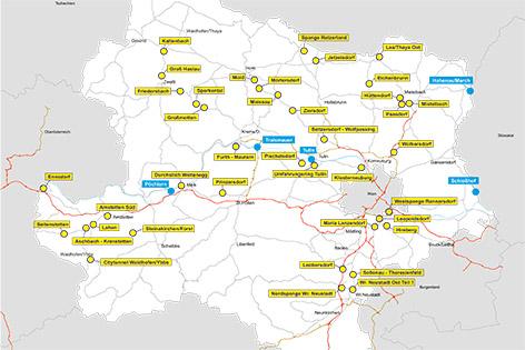 Grafik mit den Umfahrungen in Niederösterreich