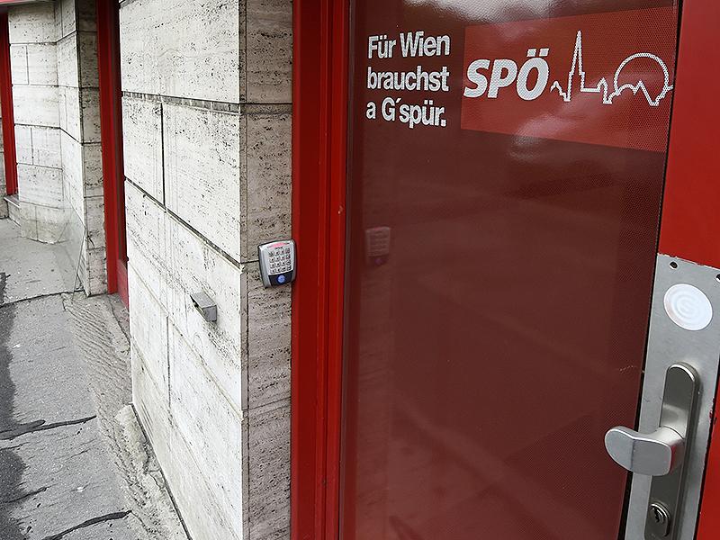 Schriftzug an Parteizentrale der Wiener SPÖ in der Löwelstraße
