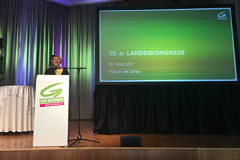 Helga Krismer beim Parteitag der Grünen in Ybbs