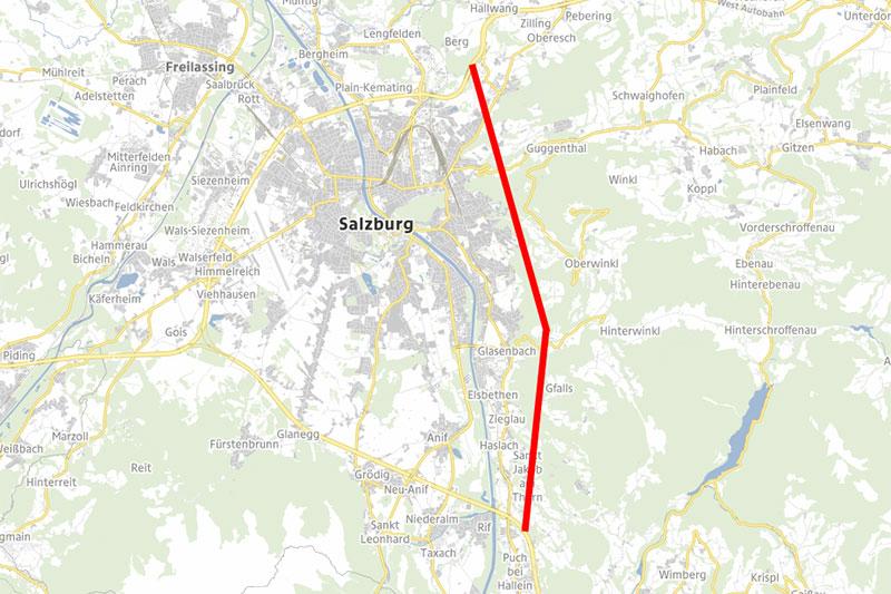 Karte mit ungefährem Verlauf des geforderten Autobahntunnels