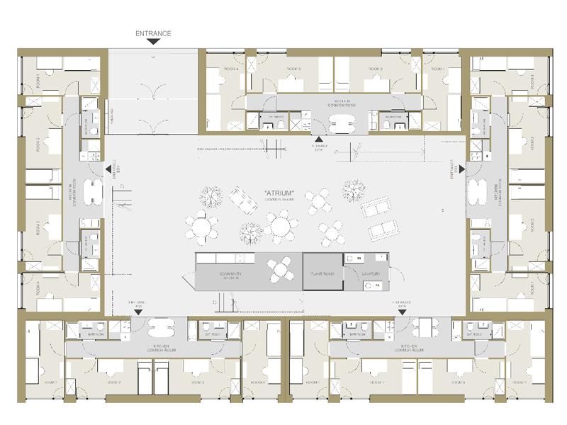 Grundriss der Pop-Up Dorms