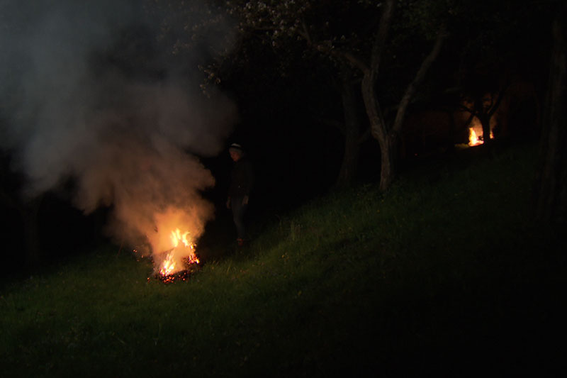 Strohballen Feuer Räuchern Frost Lavanttal