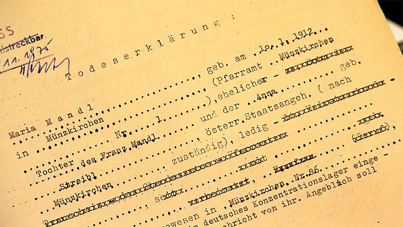 Urkunden im Fall Maria Mandl