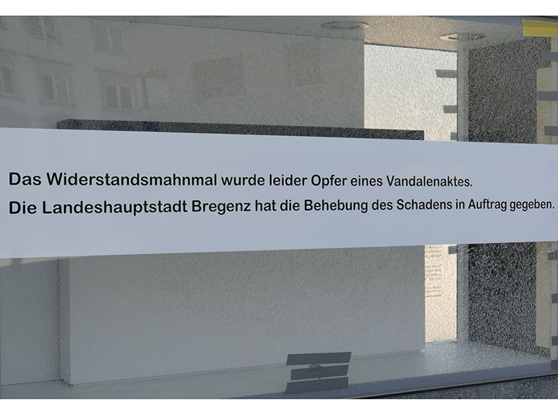 Mahnmal Bregenz beschädigt