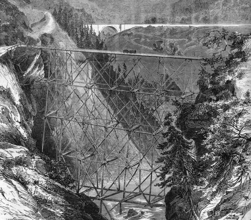 Baugerüst einer Brücke