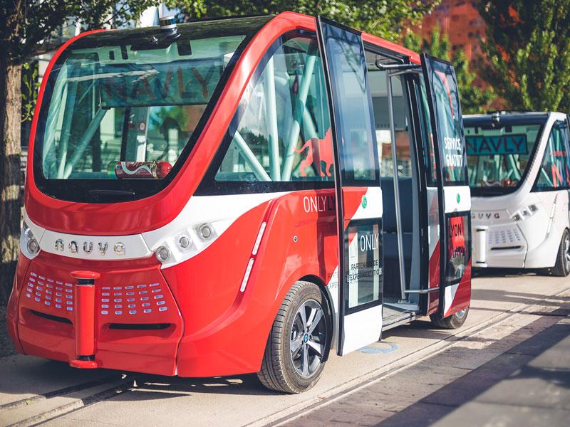 Selbsfahrender Bus in der Seestadt Aspern