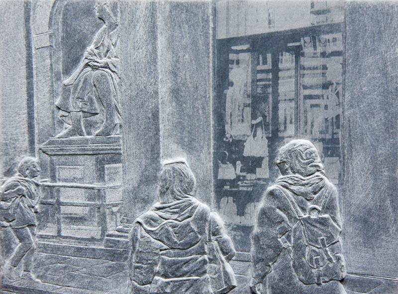 """""""Brunelleschi 4"""", Marmor-Relief von Peter Niedertscheider"""