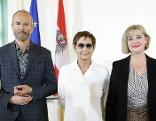 Von links: Erwin Wurm, Brigitte Kowanz und Christa Steinle bei der Vorstellung der Biennale-Nominierten für den Österreichischen Pavillon