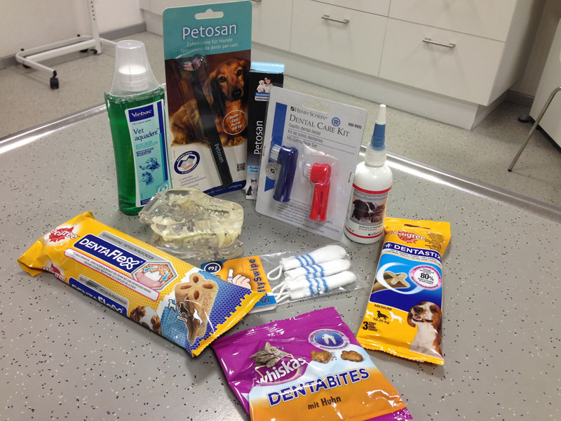 Verschiedene Zahnpflegeartikel für Haustiere