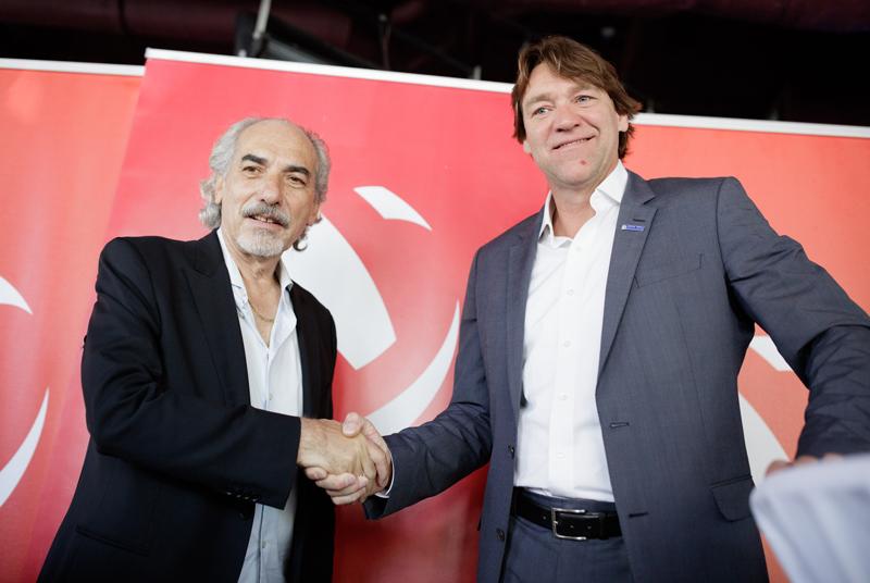 ÖVV-Präsident Peter Kleinmann und Hypo-Tirol-Manager Hannes Kronthaler