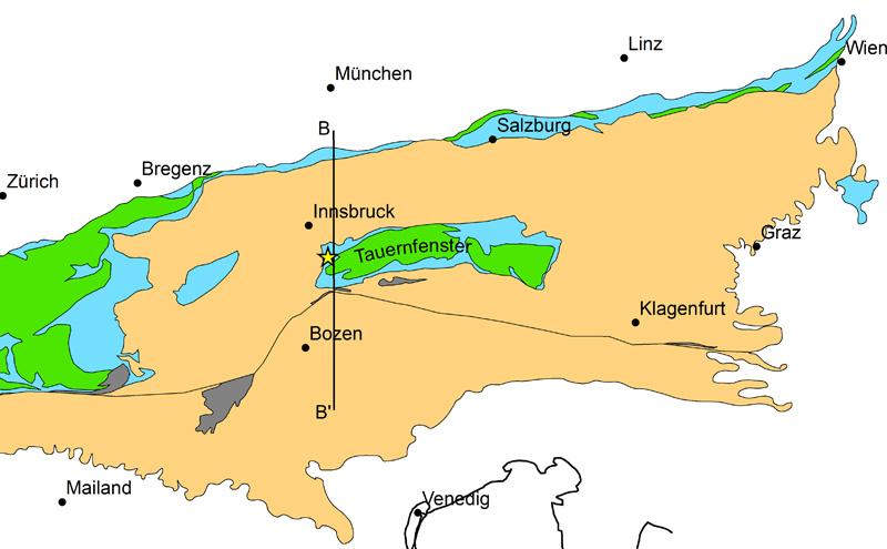 Geologische Karte zum Brennerbasistunnel