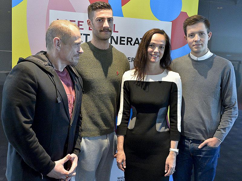 "Lifeball-Organisator Gery Keszler, Projektleiter Peter Hanl, BM Sonja Hammerschmid (SPÖ) und ""Jugend gegen Aids""-Vorsitzender Daniel Nagel"