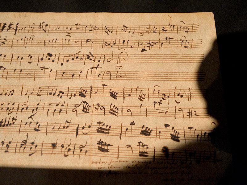 Notenblatt Wolfgang Amadeus Mozarts Minuett in G-Dur für Klavier