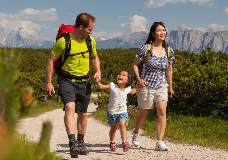 Wandernde Familie
