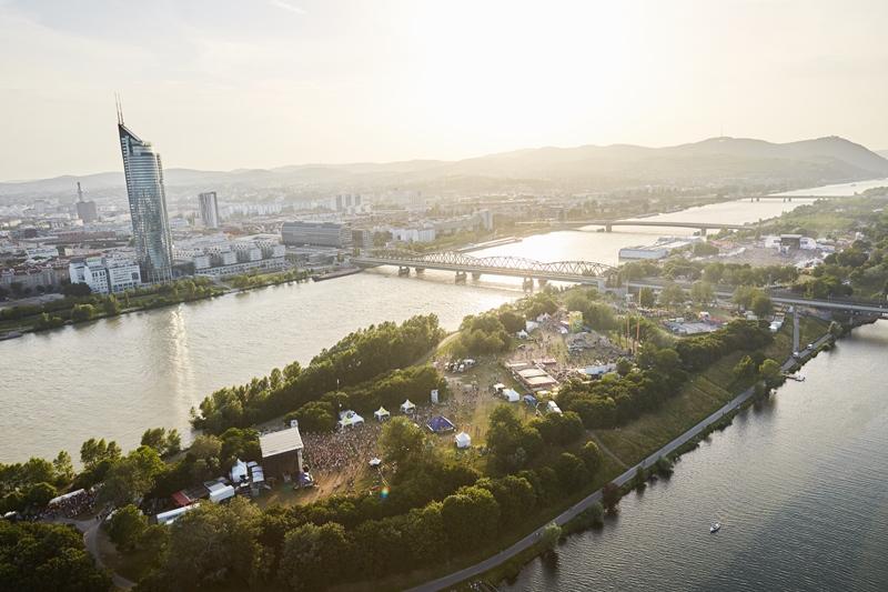 Donauinselfest Luftaufnahme