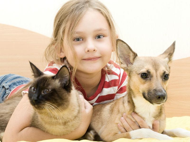 Mädchen mit Hund und Katze