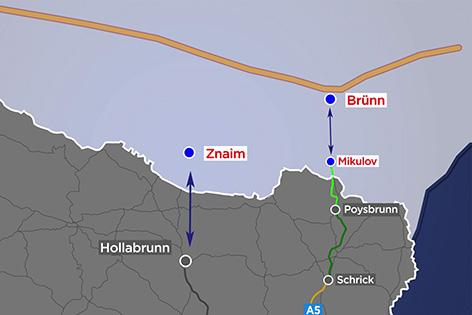 Darstellung Autobahn nach Tschechien