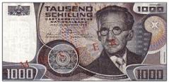"""1000-Schilling-Banknote """"Erwin Schrödinger"""""""