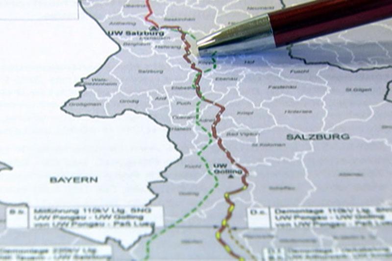 Verlauf der 380 kv Salzburgleitung durch das Land Salzburg