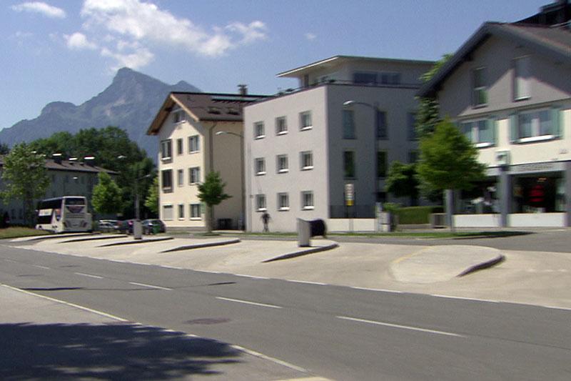Leeres Busterminal Süd in Salzburg Nonntal
