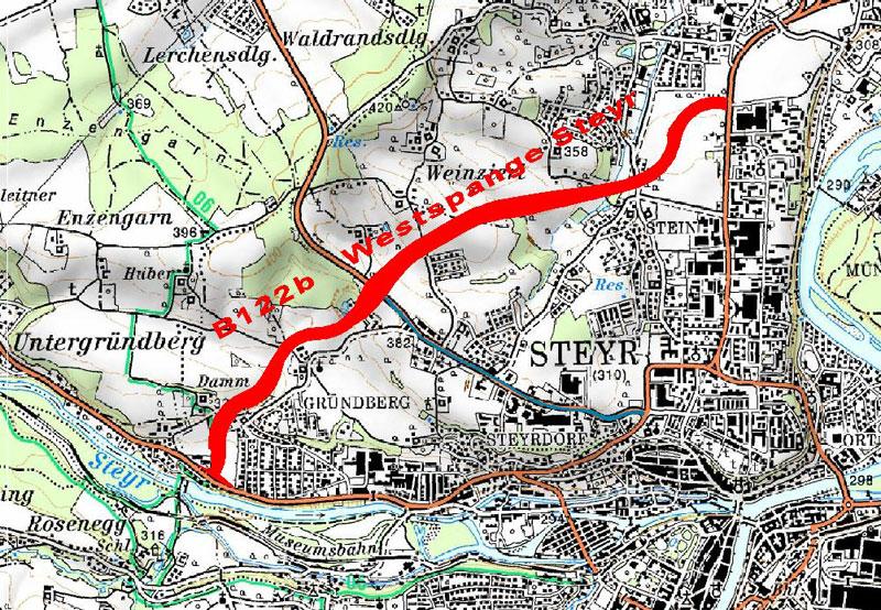 Trasse der Westspange Steyr B122b