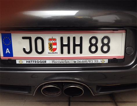 Autokennzeichen mit Nazi-Code HH88 im Pongau